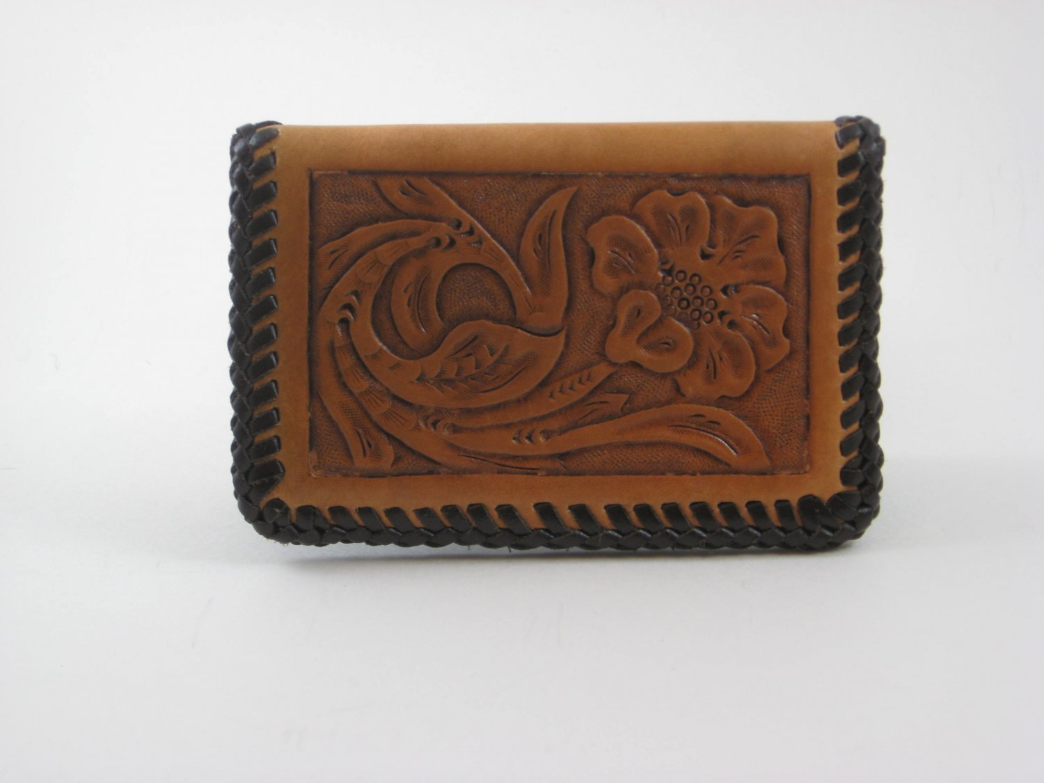 Business Card Case, Brown Lacing, Handtooled Leather, Western Floral BC0002