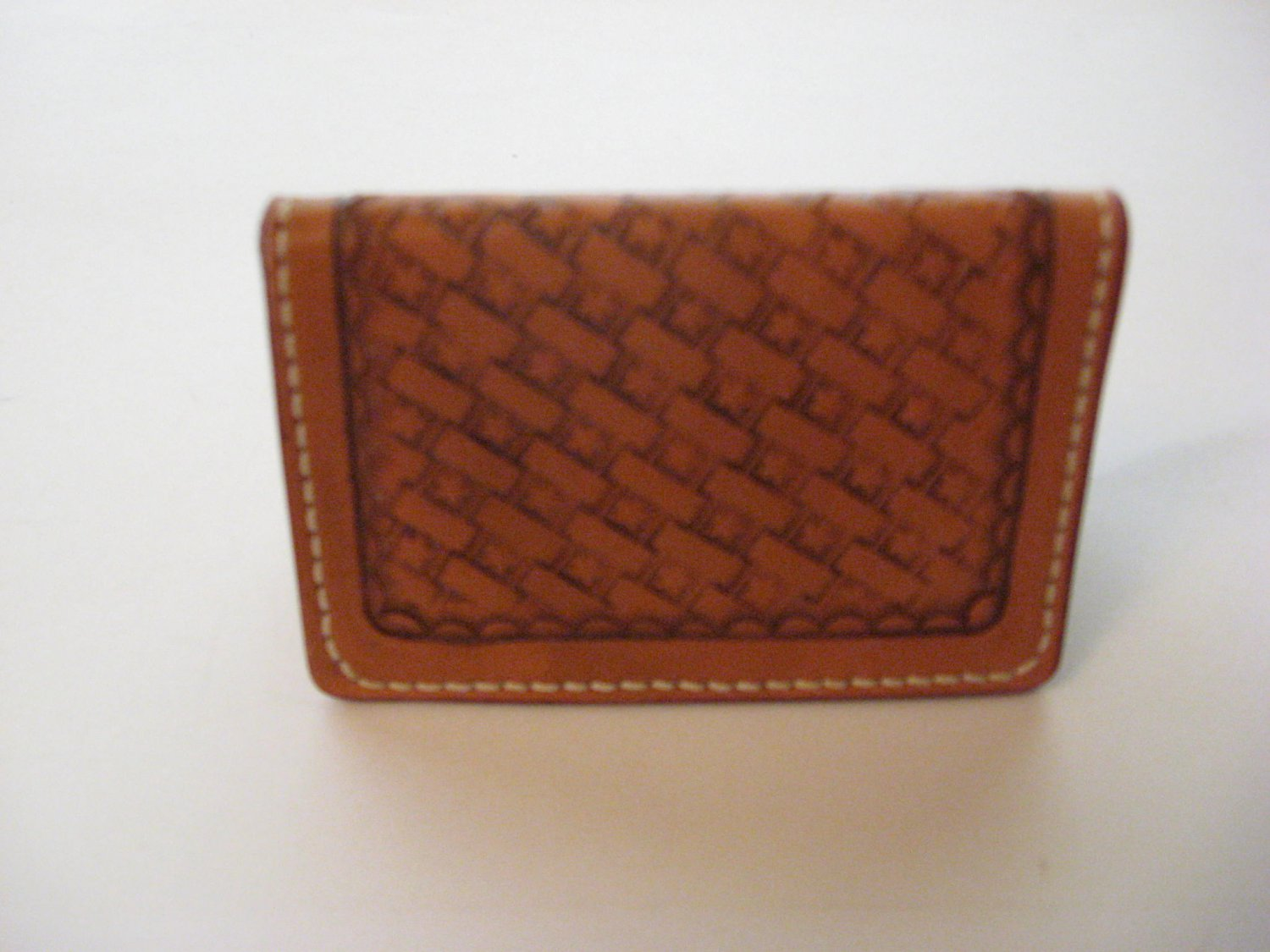 Business Card Case, Stiched, Handtooled Leather, Basket Weave BC0004