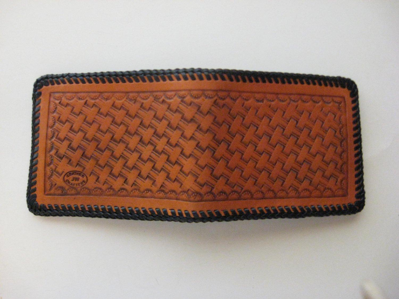 Men's Deluxe Wallet, Chestnut Tan, Black Lacing, Handtooled Leather, Basket Weave W00012