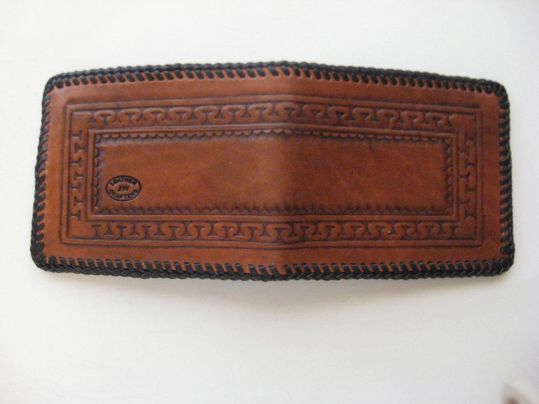 Men's Deluxe Wallet, Medium Brown, Dk Brown Lacing, Handtooled Leather, Serpentine Pattern W0013