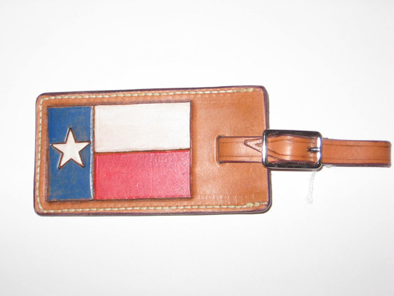 Luggage Tag, Chestnut Tan, Handtooled Leather, Texas Flag L0001