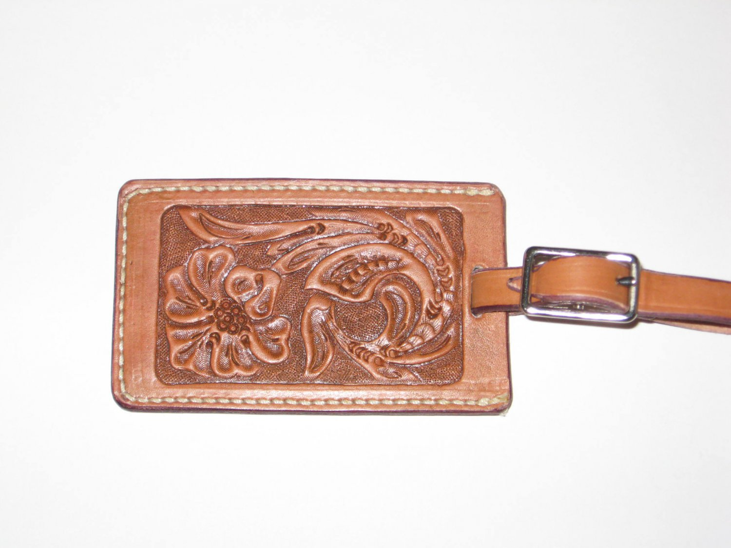 Luggage Tag, Chestnut Tan, Handtooled Leather, Western Floral L0002