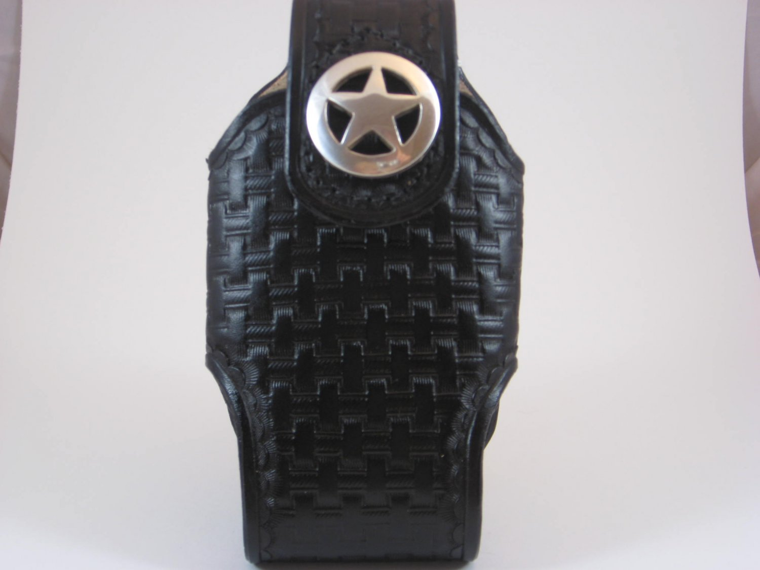 Cell Phone Holder, Medium, Handtooled Leather Case, Black Basketweave, Texas Star Concho P0006