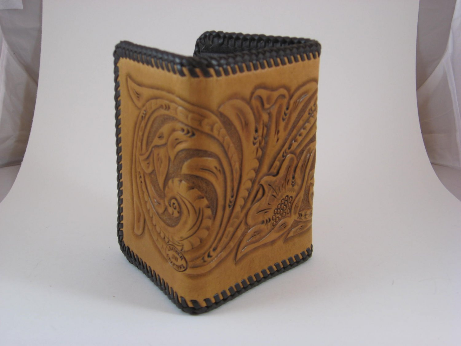 Men's Three Fold Wallet, Chestnut Tan, Brown Lacing, Handtooled Leather, Western Floral W0014