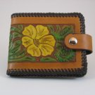 Ladies Deluxe Wallet, Chestnut Tan, Brown Lacing, Handtooled Leather, Yellow Flower W0015