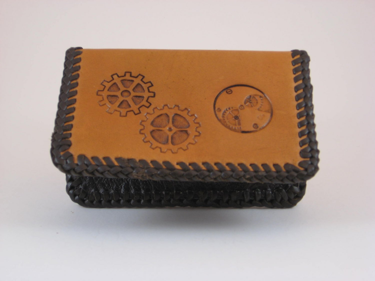 Business Card Case, Brown Lace, Handtooled Leather, Steam Punk BC0003