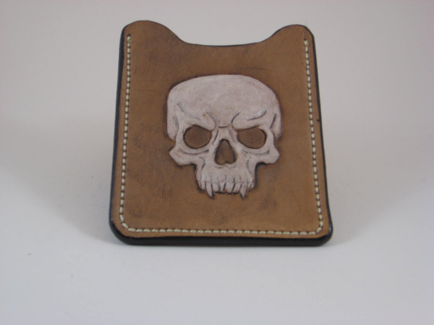 Front Pocket Wallet/Money Clip, Handtooled Leather, Skull WP0003