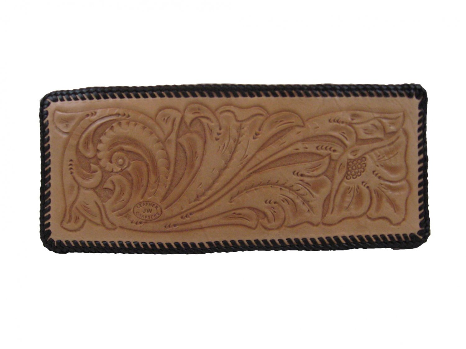 Men's Deluxe Wallet, Natural Finish, Brown Lacing, Handtooled Leather W0001
