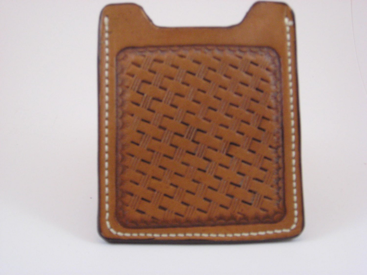 Front Pocket Wallet/Money Clip, Handtooled Leather, Basket Weave WP0002