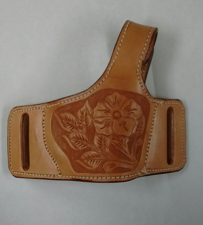 Conceal Carry Holster, Handtooled, Floral design, Thumb Break, Colt 1911, Natural Finish, HA0001