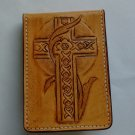 Money Fold Wallet, Cross on Front, Basket Weave, Tan Finish, Stitched WP0013