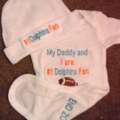 Miami Dolphins Baby Infant Newborn Onesie Hat Set