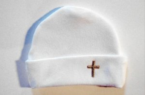 Personalized Baptism Christening White Baby Hat Cross