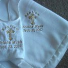 Personalized Baptism/Christening Blanket Satin Trim Bib set