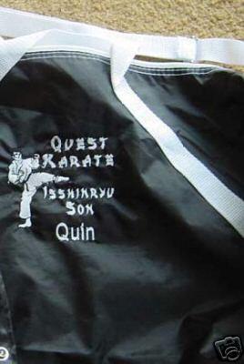 Personalized Karate Martial Arts Black Belt Duffle Bag