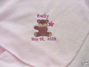 Personalized Newborn Baby Infant Fleece Blanket Girl