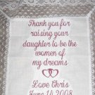 GIFT MOTHER BRIDE GROOM WEDDING HEART HANKIE BRIDAL
