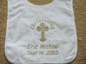 Personalized Baptism Christening Baby Keepsake Bib