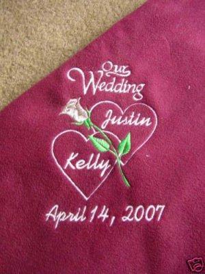 Personalized Wedding Bridal Shower Fleece Blanket