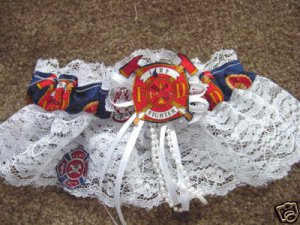 Firefighter Fireman Red  Wedding Bridal Garter Keepsake