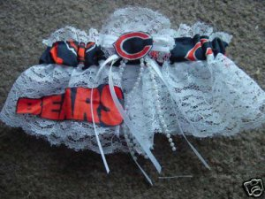 Chicago Bears Football NFL Bridal Wedding Garter Keepsake Lace trim