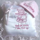 Personalized Infant/Baby/Newborn Hat Birth Pillow Set