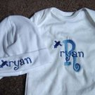 Personalized Boys Baby  Infant Newborn Onesie Hat Set