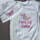 Personalized It's a Girl Infant  Newborn Onesie Hat Set