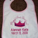 Personalized Baby's First Birthday Princess Bib Party