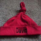 Personalized Red Baby Infant Newborn Knotted Hat Cap