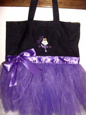 Ballerina Ballet PreBallerina Dance Dancer Tote Bag with tutu Personalized Girls Toddler