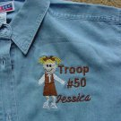 Girl Scout Brownie Troop Leader Ladies Denim Shirt Long or Short Sleeves Personalized Embroidered