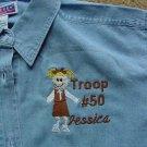 Girl Scout Brownie Troop Leader Ladies Denim Shirt Long or Short Sleeves Personalized Embroidered