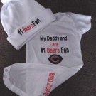 Chicago Bears  Baby Infant Newborn Onesie Hat Set