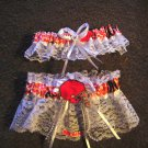 Cleveland Browns Football NFL Wedding Bridal Garter set  Keepsake Prom White Or Ivory