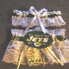 New York Jets NFL Football Wedding Bridal Garter Set (2) White or Ivory Keepsake Prom