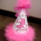 Personalized Pink Happy First Birthday Pary hat  W/Boa