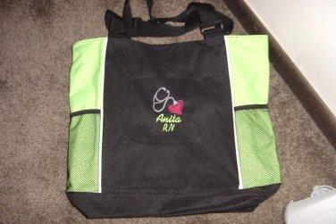 Personalized Nurse RN  Tote Duffle Bag W/Pockets