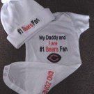 Chicago Bears Football Baby Infant Newborn Creeper Onesie Hat Set