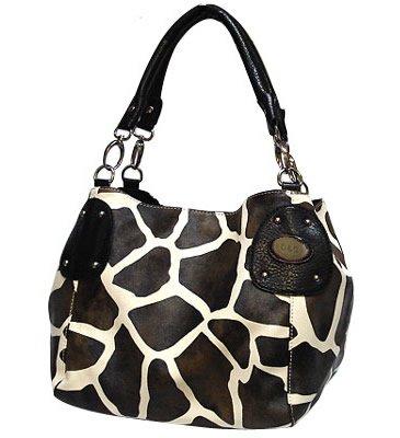 Giraffe Print Purse - black