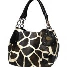 Giraffe Print Purse - black