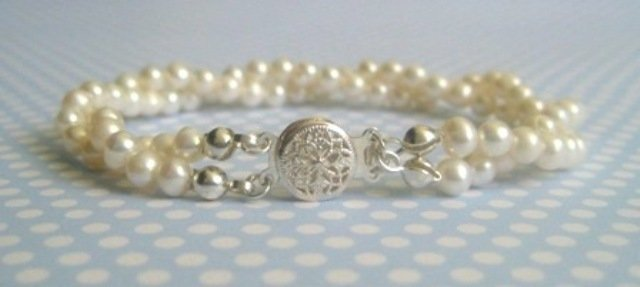 Handcrafted 2 Strand Classic Pearl Bracelet LAURA by Rivkas Collections