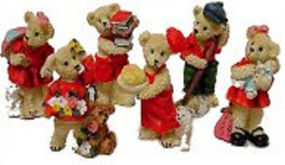 Set of 6 Bear figurines, 4 inch tall