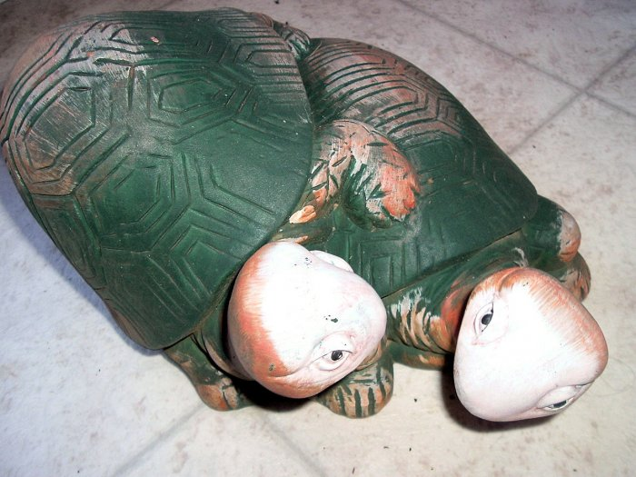 2 TURTLES climbing on each other ceramic figurine