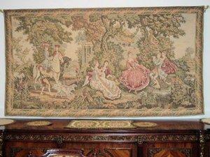 French antique GOBELIN Tapestry Rokoko scene pre 1900 FREE SHIP