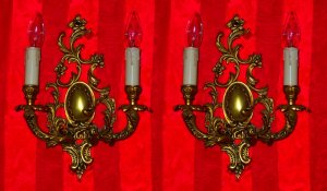 Pair of Original Baroque Dual Arm Wall Sconce Lamps FREE SHIP