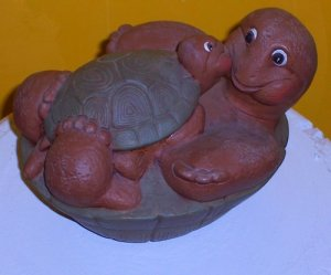 Collectible Ceramic Hand Painted Mother & Child Turtles FREE SHIP