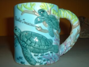 Sea Turtle ceramic coffee mug Domenican Republic FREE SHIP