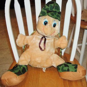 Huge sitting stuff TURTLE in military outfit FREE SHIP