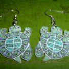Acryl turtle dangle earrings FREE SHIP